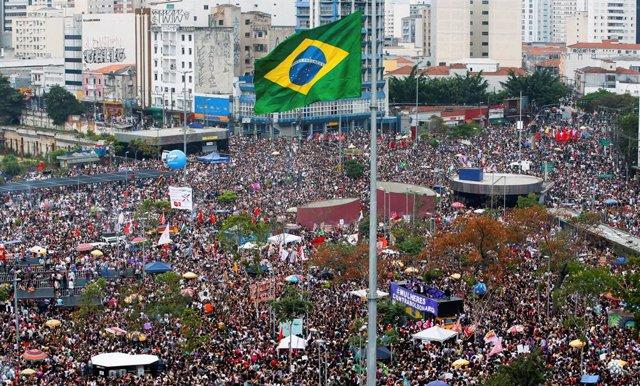 Maifestación en Sao Paulo contra Jair Bolsonaro