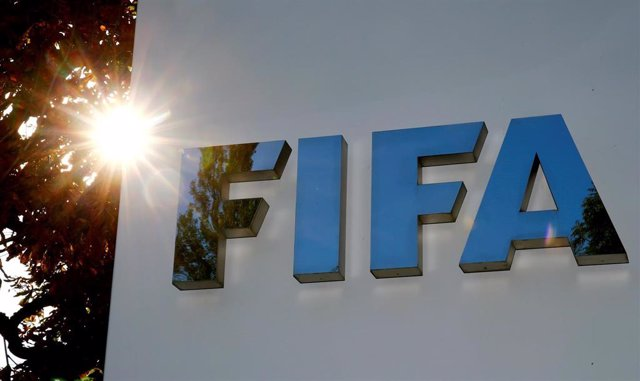 The logo of FIFA is seen in front of its headquarters