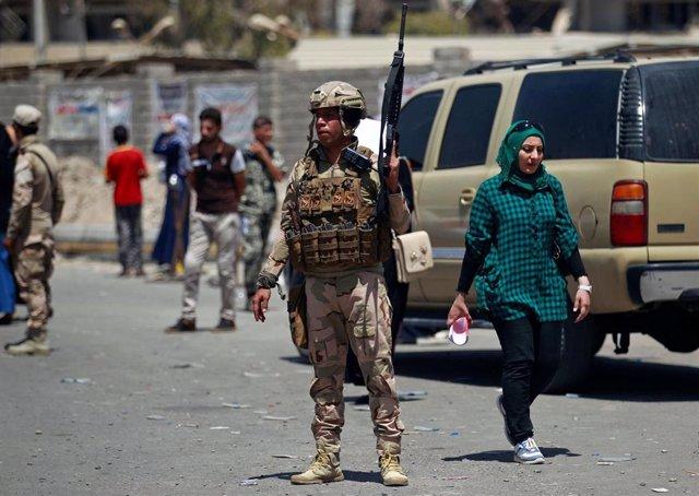 Soldado iraquí en Mosul