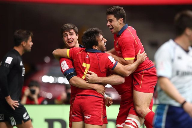 Spain's Pol Pla Celebrates The Match Winning Try Against New Zealand On Day One