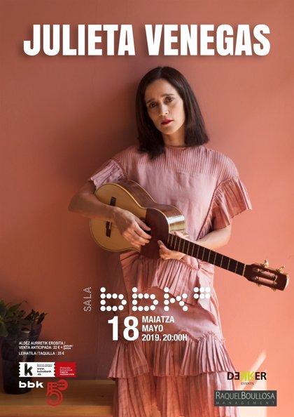 La cantante mexicana Julieta Venegas actuará el 18 de mayo en la sala BBK de Bilbao