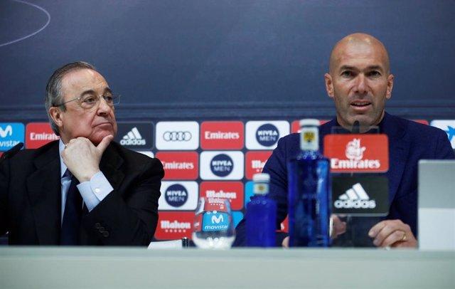 Florentino Pérez junto a Zidane