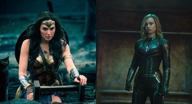 Wonder Woman (Gal Gadot) felicita a Capitana Marvel (Brie Larson) por su éxito e