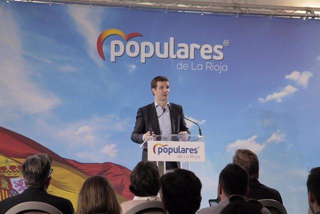 El presidente del PP, Pablo Casado, clausura el acto de presentación de los cand