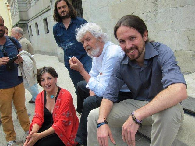 Yolanda Díaz (EU), Xosé Manuel Beiras (Anova) e Pablo Iglesias (Podemos)