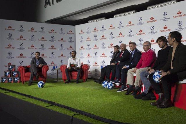 Sanchís, Julio Salinas y Pantic en las Santander UEFA Champions League Talks
