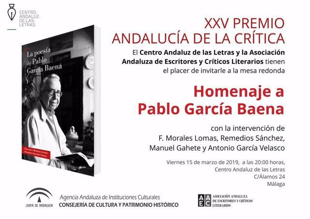Málaga.- El Centro Andaluz de las Letras acoge un homenaje a la poesía de Pablo
