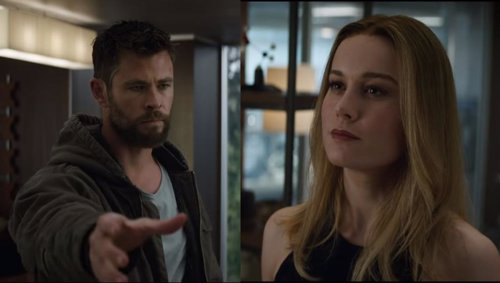 Thor y Capitana Marvel en Vengadores Endgame