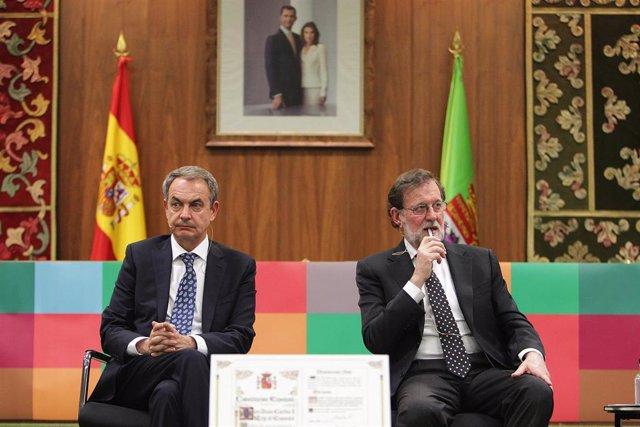 Zapatero y Rajoy defienden la vigencia de la Constitución y que la unidad de Esp