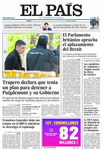Las portadas de los periódicos del viernes 15 de marzo de 2019