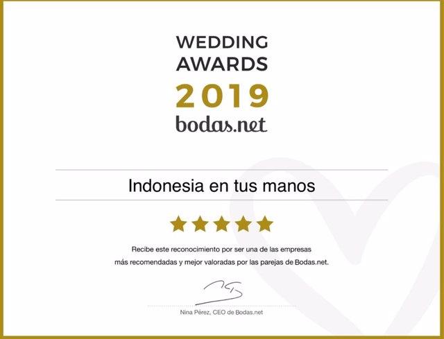 COMUNICADO: Viajes Indonesia en tus manos recibe un Wedding Award