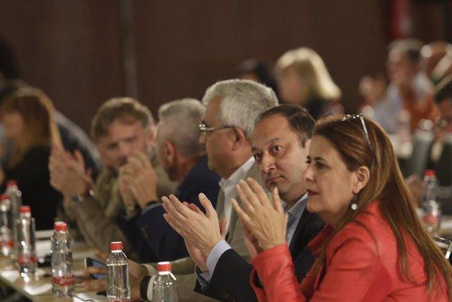La secretaria general del PSOE-A, Susana Díaz, interviene en la reunión que mant