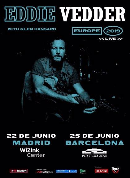 Eddie Vedder actuará en Madrid y Barcelona el 22 y 25 de junio