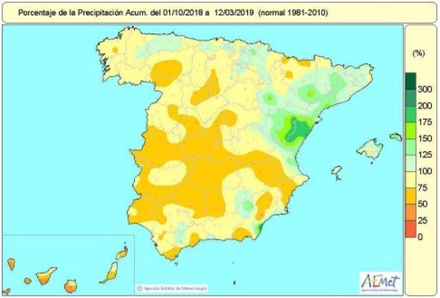 La falta de lluvias acumuladas desde octubre en España se mantiene en un 14%