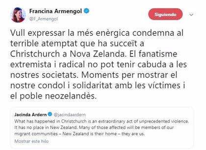 """Armengol expressa la seva """"enèrgica condemna"""" a l'atemptat terrorista contra dues mesquites a Nova Zelanda"""