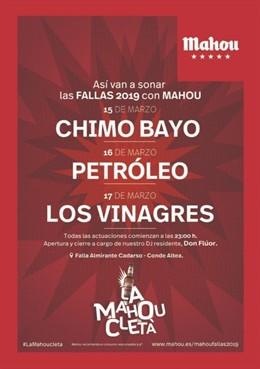 Chimo Bayo, Petróleo, Los Vinagres y Don Flúor, en la Mahoucletá de las Fallas d