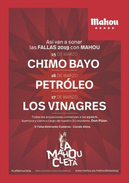 Chimo Bayo, Petróleo, Los Vinagres y Don Flúor, en la Mahoucletá de las Fallas de Valencia