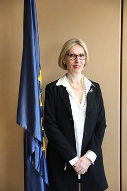 Beatriz Becerra en un acto en la sede del Parlamento Europeo en Madrid