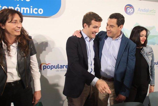 Pablo Casado, y  Juanma Moreno, participan en el Comité Ejecutivo del PP-A