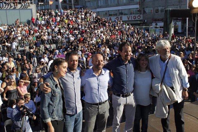 Mitin de En Marea en Vigo, con Pablo Iglesias y Beiras
