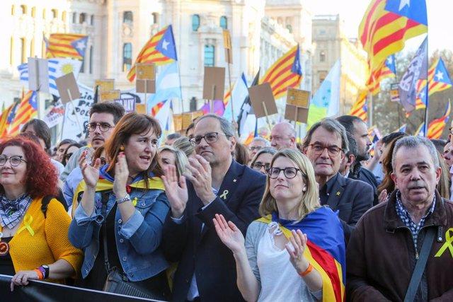 Manifestación independentista en Madrid contra el juicio del 'procés'