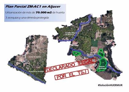 """Huermur consigue que se declare 'ilegal' """"otro macroplan urbanístico"""" en la Huerta de Murcia"""