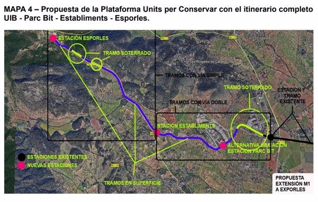 La plataforma Units per Conservar planteja allargar el metre fins a Esporles