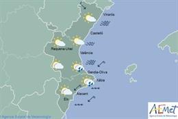 Lluvias ocasionales este miércoles en el sur de Valencia y norte de Alicante