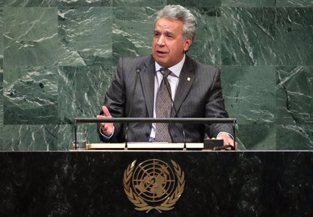 El presidente ecuatoriano Lenín Moreno halando para la ONU.