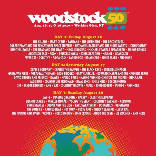 Cartel completo del 50 Aniversario del Festival de Woodstock