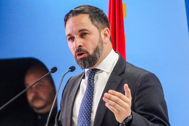 El presidente de Vox, Santiago Abascal, protagoniza un acto organizado por el d