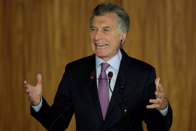 Argentina's President Mauricio Macri speaks during a meeting with Brazil's Presi