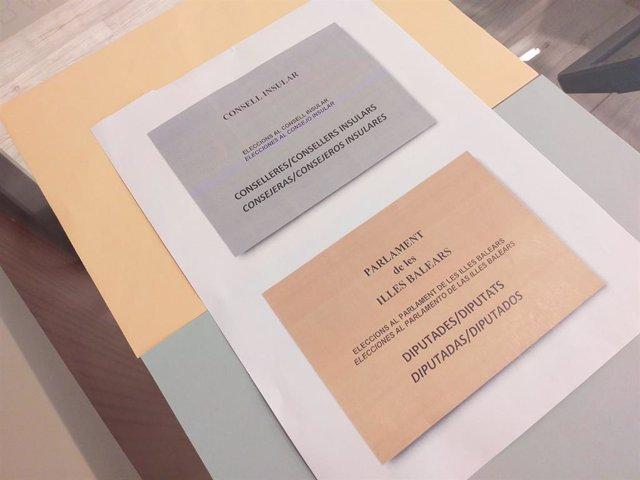 Consell.- Les paperetes de les eleccions autonòmiques a Balears utilitzaran len
