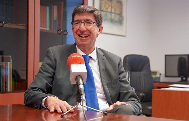 El vicepresidente de la Junta, Juan Marín, durante la entrevista con Europa Pres