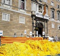 Activistes antiindependentistes bolquen sacs de llaços grocs davant de la Generalitat (@SGMARESME)
