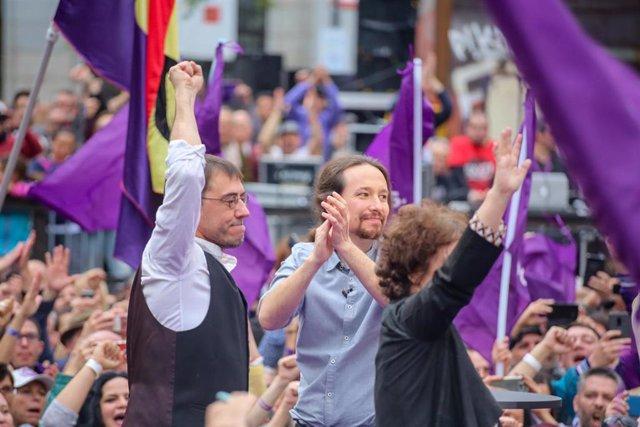 El secretario general de Podemos, Pablo Iglesias, protagoniza el acto de precamp