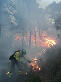 Jaén.- Sucesos.- Estabilizado el incendio en el paraje Morrones de Santa María