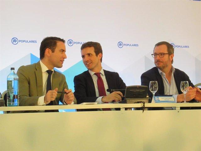 Teodoro García Egea, Pablo Casado y Javier Maroto