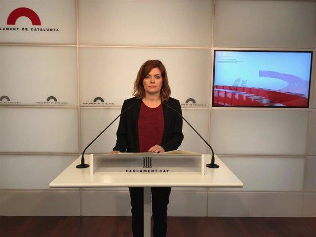 Elisenda Alamany, portavoz de CatECP en el Parlament, en rueda de prensa