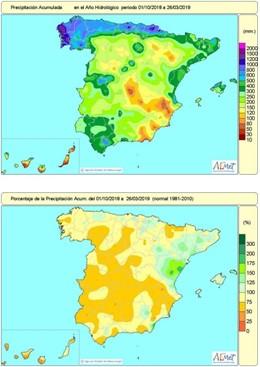 La falta de lluvias acumulada desde octubre aumenta hasta el 18 por ciento