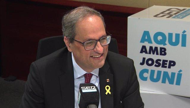 Entrevista del presidente de la Generalitat, Quim Torra, en la Cadena Ser Catalu