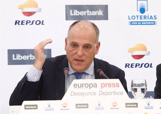 El presidente de LaLiga, Javier Tebas, protagoniza un desayuno deportivo de Euro