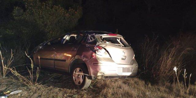 Accidente de tráfico en al AP-15 en Peralta