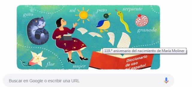 Google homenajea con un 'doodle' a la filóloga española María Moliner en el 119