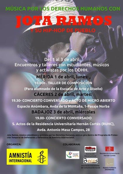 El músico y activista colombiano Jota Ramos mantendrá encuentros con jóvenes de Extremadura (España)
