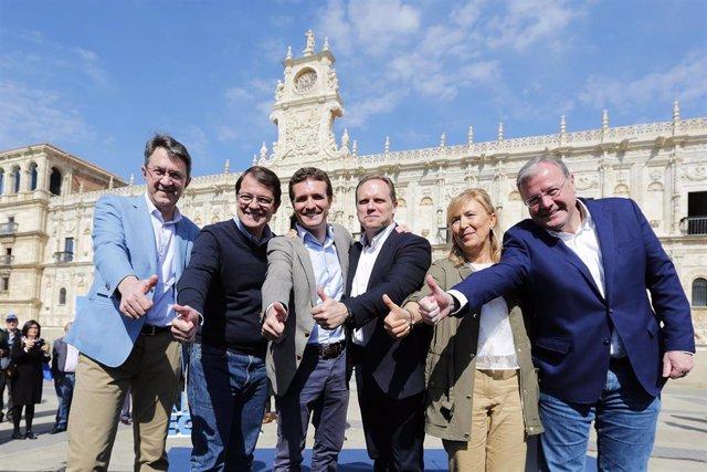 Acto del PP en León con la presencia del presidente del partido, Pablo Casado