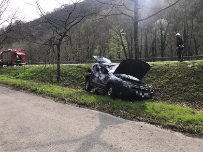 Trasladado al hospital de Irún tras sufrir un accidente de tráfico en Zozaia