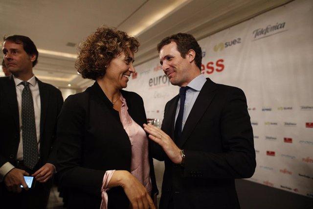El president del PP, Pablo Casado, protagonitza un Esmorzar Informatiu d'Europ