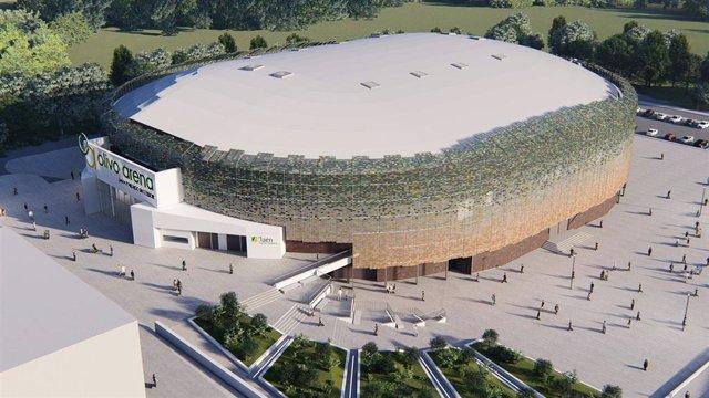 Boceto del exterior del Palacio de Deportes Olivo Arena de Jaén.