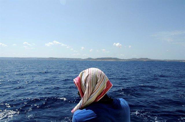 Migrante a bordo del 'Aquarius'